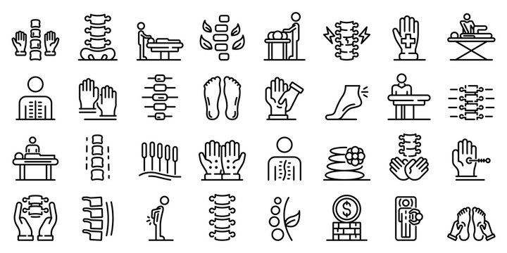 Osteopathy icons set. Outline set of osteopathy vector icons for web design isolated on white background
