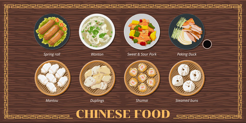 Spring Rolls ,wonton soup,sweet sour pork,peking duck,dim sum,mantou,dumplings,shumai,steamed bun chinese food menu set collection vector graphic design