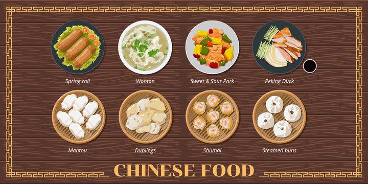 Spring Rolls ,wonton soup,sweet sour pork,peking duck,dim sum,mantou,dumplings,shumai,steamed bun chinese food menu set collection vector graphic design