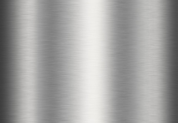Stainless steel metal surface background or aluminum brushed silver texture with reflection.