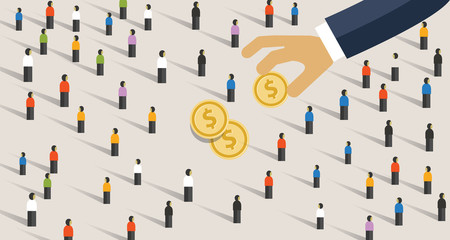 Hand pick and put money from to the crowd of people. Concept of donation giving or corruption to public. Also means get profit from mass market.
