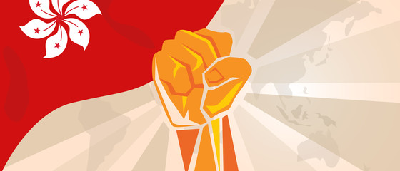 Hongkong flag hand fist. Activism revolution democracy rally. Political action. Vector illustration.
