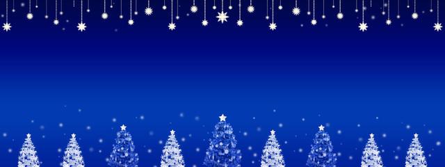 モミの木と星と雪のバックグラウンド