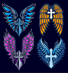 Cross and Wings vector set, Heraldry Tattoo Style elements.