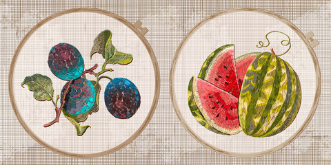Embroidery collection. Plums and watermelon. Fruit art. Template tambour frame with a canvas, elements from stitches. Art for clothes
