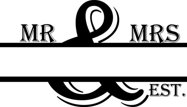 Mr and Mrs Split Monogram Vector Silhouette