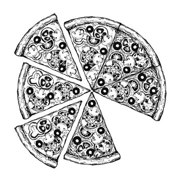 Vintage drawing, pizza, table, organic food ingredients. Hand drawn pizza illustration. Great for menu, poster or label.