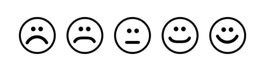 Set of flat emoticons islolated on white background. Happy or angry emotion