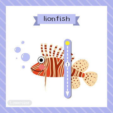 Letter L lowercase tracing. Lionfish side view