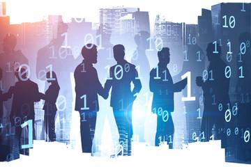 Fotobehang - Business people in digital city