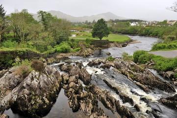 Ireland landscape: green earth and gray sky.