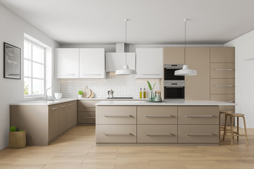 White and beige kitchen interior, bar and picture