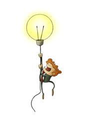 Businessman flying on a light bulb as a symbol of creativity. isolated