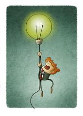 Businessman flying on a light bulb as a symbol of creativity.