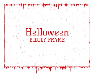 Grunge Halloween vector frame with dripping red blood and textured effect. Horizontal blank banner background. Vector border poster template.