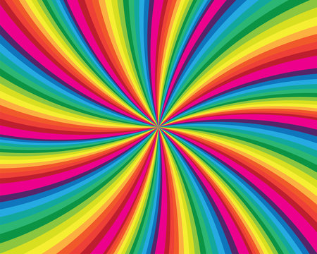 Spiral and swirl motion twisting circles design. Colorful cyclone sweet candy radial pattern background. Vortex starburst spiral swirl. Helix rotation rays. Vector rainbow stripes. sun light beams.