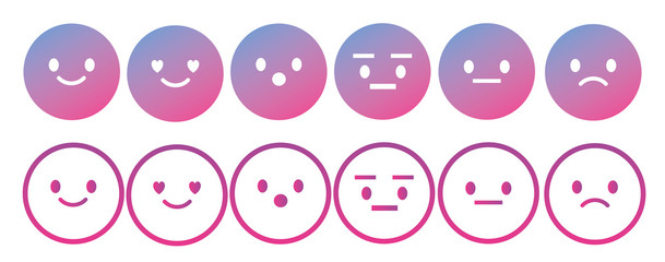 Emoji avatar face vector line icon set.