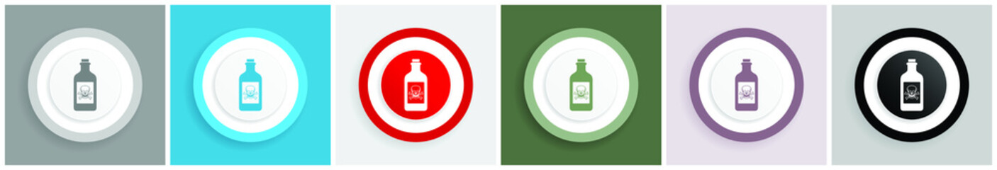 Bottle, poison icon set, colorful flat design vector illustrations in 6 options for web design and mobile applications