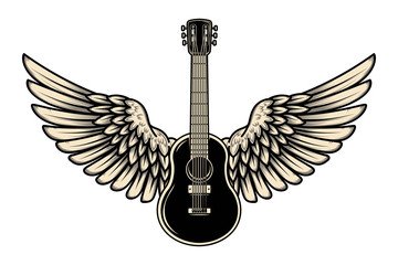 Illustration of winged guitar isolated on white background. Design element for poster, banner, sign, emblem. Vector illustration