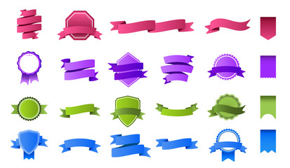 Color ribbon banners. Colorful tag banner, blank ribbons label and curved flag badge frame flat vector set. Empty pink and blue stamps. Collection of green and purple banderole and badges