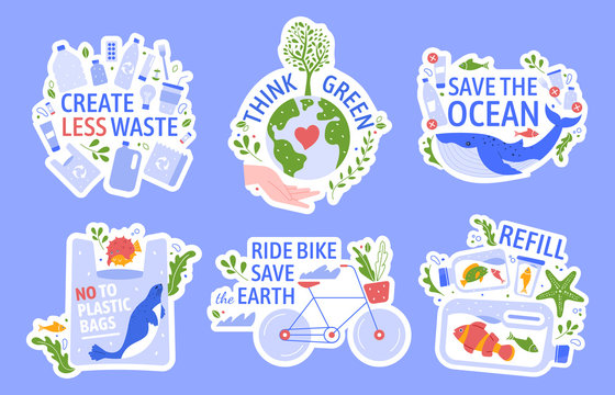 Ecology protecting. Save the environment, zero waste, save the ocean and recycle concept vector illustration icons set. Anti plastic. Eco friendly lifestyle. Ecological stickers with slogans