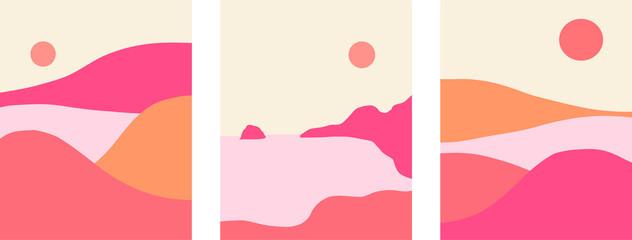 Minimalist landscape design, flat scenery postcard,nordic scandinavian design,poster set mountains lake sunset pink and salmon color palette