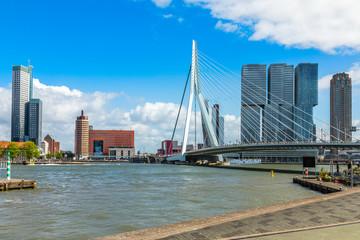 Foto auf Leinwand Rotterdam Erasmus Bridge and downtown skyscrapers at the embankment of Maas river, Rotterdam. The Netherlands