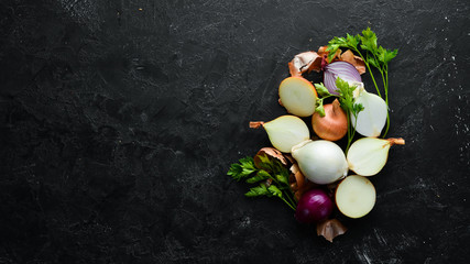 Colored ripe onions on wooden board on black background. Top view. Free copy space. Wall mural