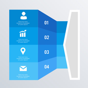 3D blue infographic template design with icons. Business concept infograph 4 options, steps or processes. Vector visualization can be used for workflow layout, diagram, annual report, web