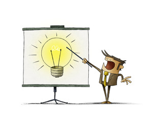 Businessman points on a display a large light bulb. creativity teaching concept. isolated