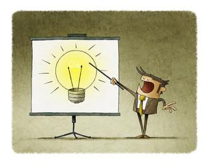 Businessman points on a display a large light bulb. creativity teaching concept.
