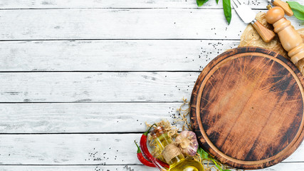 ingredients for healthy cooking on a rustic background, top view, banner. Free space for your text.