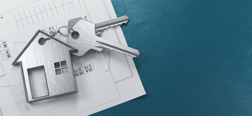 Mortgage, investment, real estate and property concept - close up of house keys. 3d rendering