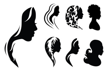 Vector silhouette of woman on white background. Symbol of girl, hair, face, hairstyle, logo.