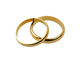 Old wedding rings together isolated - clipping path
