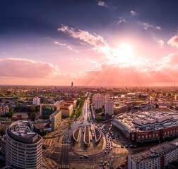 Fototapeta Rondo Reagana we Wrocławiu widok z powietrza obraz