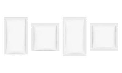 Set of sachet mockups isolated on white background. Vector illustration