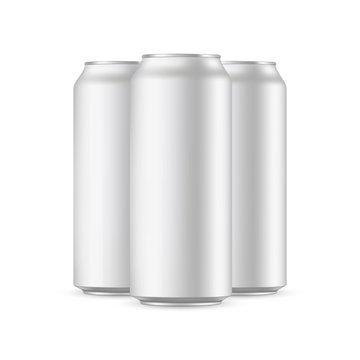 Three aluminium cans mockups isolated on white background. Vector illustration