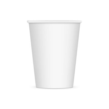White disposable paper cup mockup isolated on white background. Vector illustration