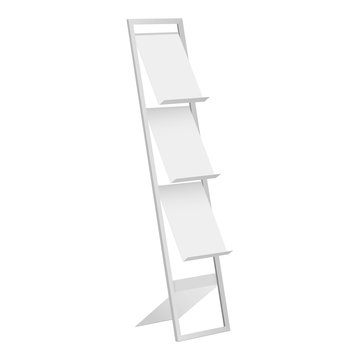Display stand, holder for brochure, magazine, leaflet isolated on white background. Vector illustration