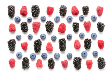 Wall Mural - set of varrious berry fruits isolated on white background