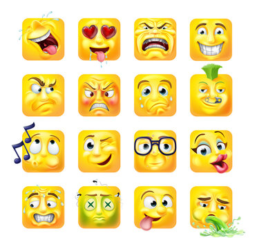 An emoji or emoticon square faces 3d icon cartoon character set