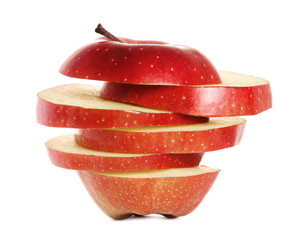 Sliced red apple isolated on white background, (Red Delicious)