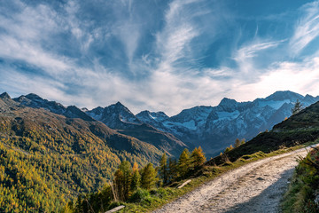 Path leading to the Obere Glanegg Alm (Malga Dosso Piccolo) with the high rising alp mountains of the Texelgroup (Gruppo di Tessa)