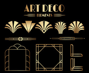 Geometric Gatsby Art Deco Ornaments, Dividers and Frame Elements