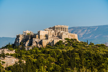 Poster Athenes Acropolis and Parthenon in Athens Greece.
