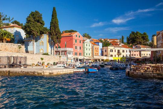 View of the port entrance of Veli Losinj, island Cres, Croatia, Kvarner Gulf, Adriatic Sea, Croatia