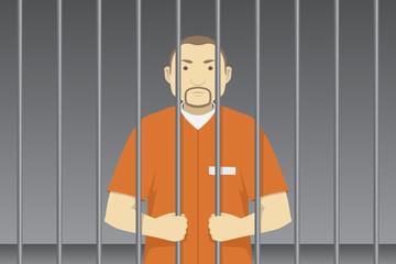 Convict behind prison bars. Vector illustration.