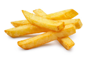 Delicious french potato fries, isolated on white background Wall mural