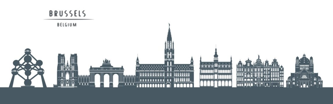 Brussels skyline with illustration. City Silhouette